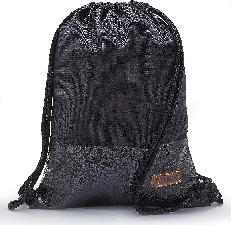 Beige/_braun flach 34cmx45cm +-1cm Design unifarben mit Kunstlederboden Sportbeutel Gym Bag Gymsack Hipster Fashion By-Bers LEON Tasche Turnbeutel Rucksack