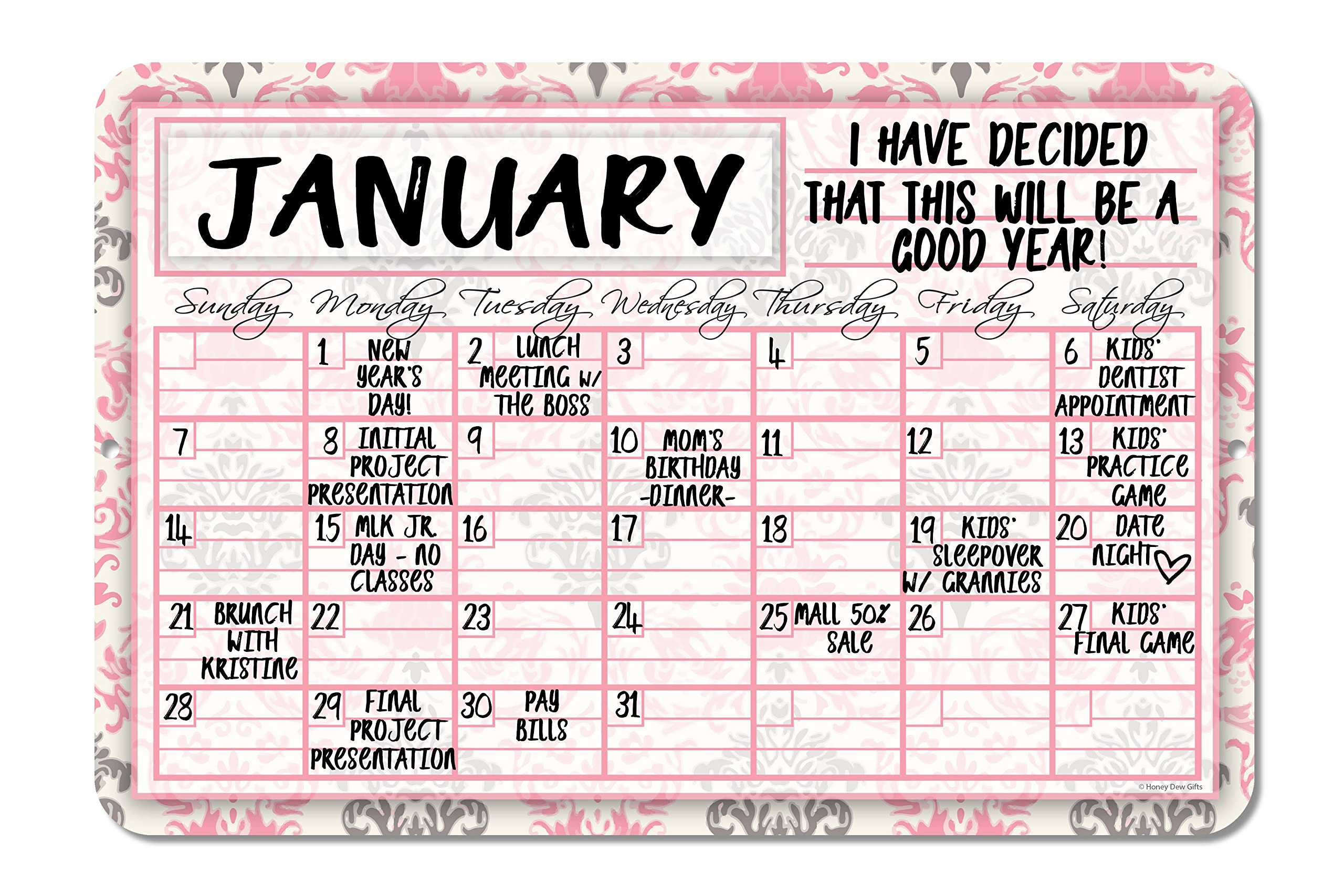 Floral Pink Decorative Wall Calendar Planning Board - Reusable Easy Clean