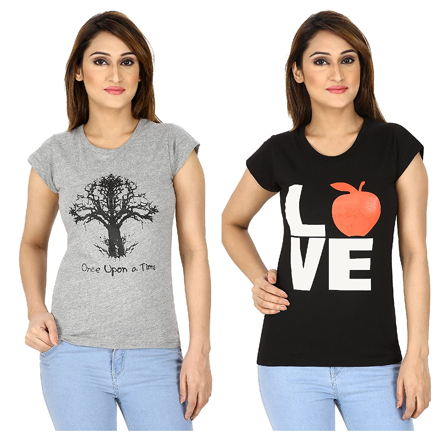 a777b3cd596f Harry & Sally Women's Cotton T-Shirt (XXL, Grey): Amazon.in: Clothing &  Accessories