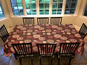 """Covers For The Home Deluxe Stitched Edged Flannel Backed Vinyl Drop Tablecloth - Medallion Pattern - 60"""" x 90"""" - Oblong"""