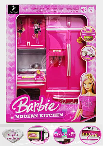 Buy Jack Royal Modern Barbie Kitchen Play Set With Light And Sound