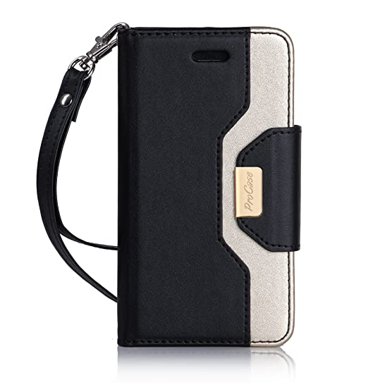 new product 01122 304a9 iPhone SE / 5S Case Cover, ProCase Wallet Flip Case, with Wristlet Strap,  Build-in Card Slots and Mirror, Stylish Slim Stand Cover for Apple iPhone  SE ...