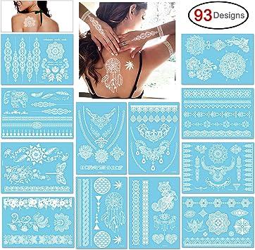 Konsait Tatuajes temporales para adultos mujer Niño (12 hojas ...
