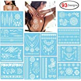 Konsait Pack of 12 Sheets Lace Temporary Tattoos Waterproof Fashion Fake Jewelry Body Art Stickers for Adult Women Girls Kids, Non-toxic & Removal (White)