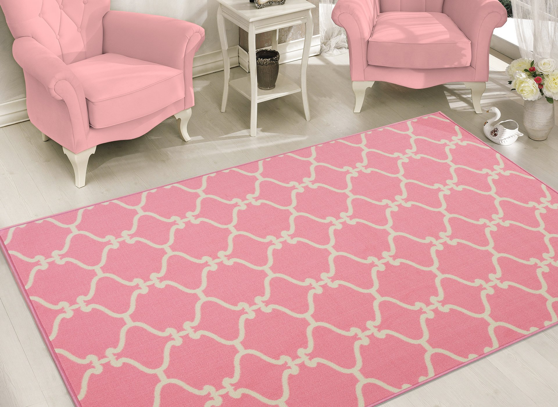 Sweet Home Stores Clifton Collection Moroccan Trellis Design Rubberback Area Rug, Pink