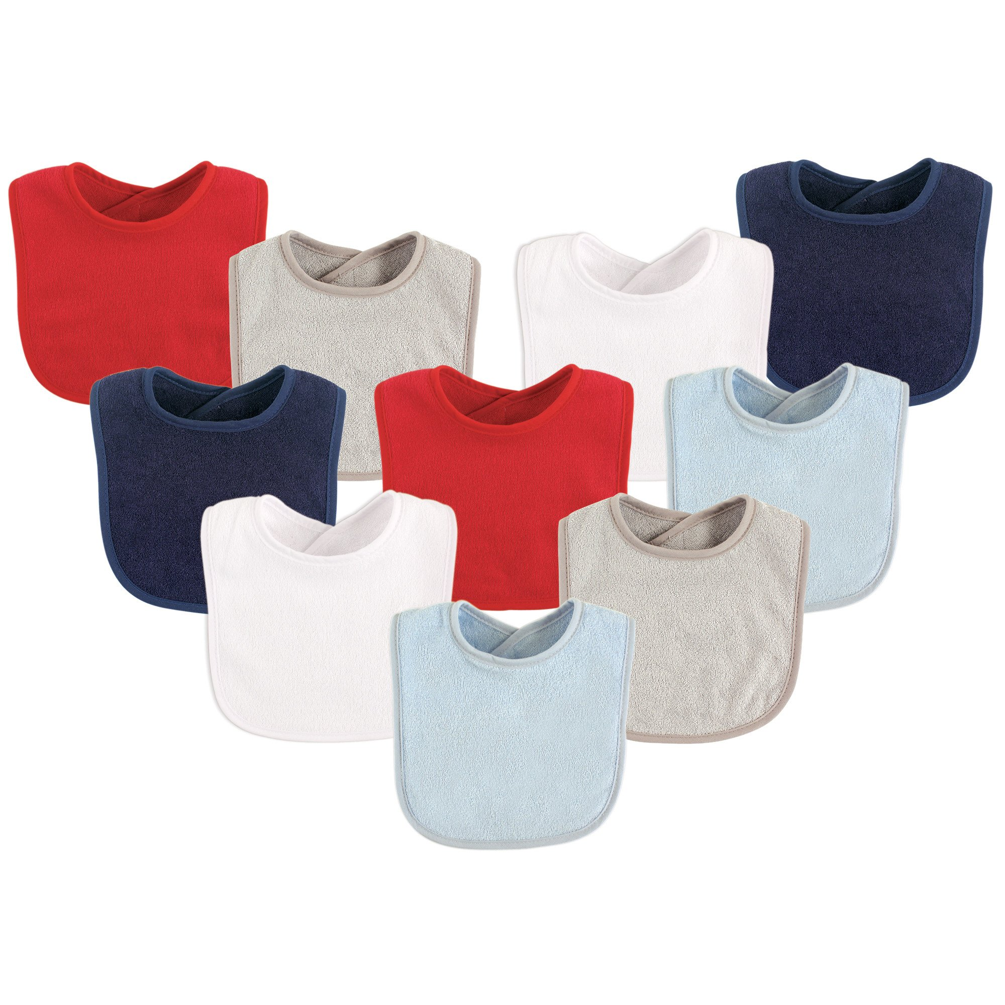 Luvable Friends Unisex Baby Drooler Bibs, Boy Red/Solid 10-Pack, One Size by Luvable Friends