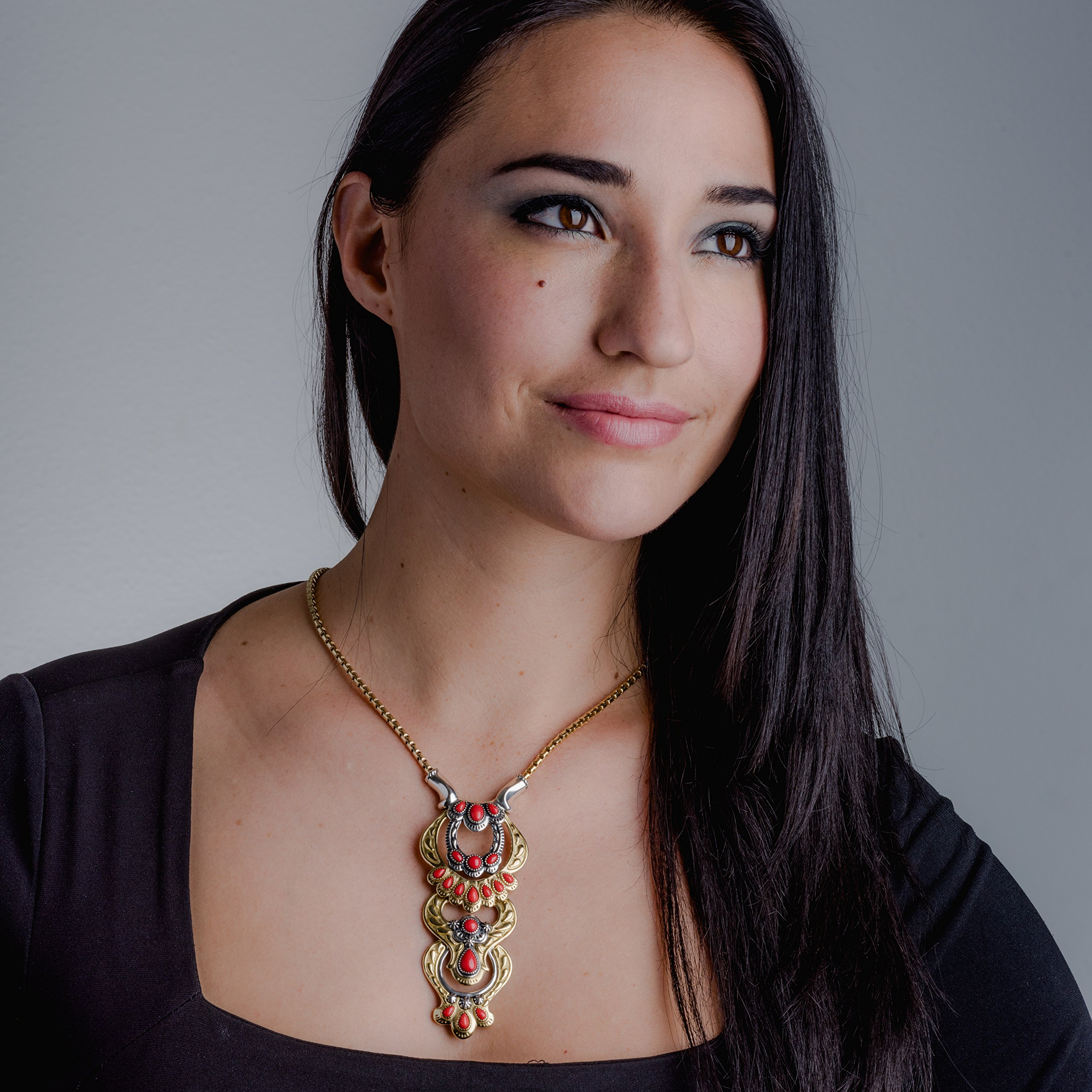 Sterling Silver, Brass and Red Coral Necklace with Removable Stations by American West (Image #2)