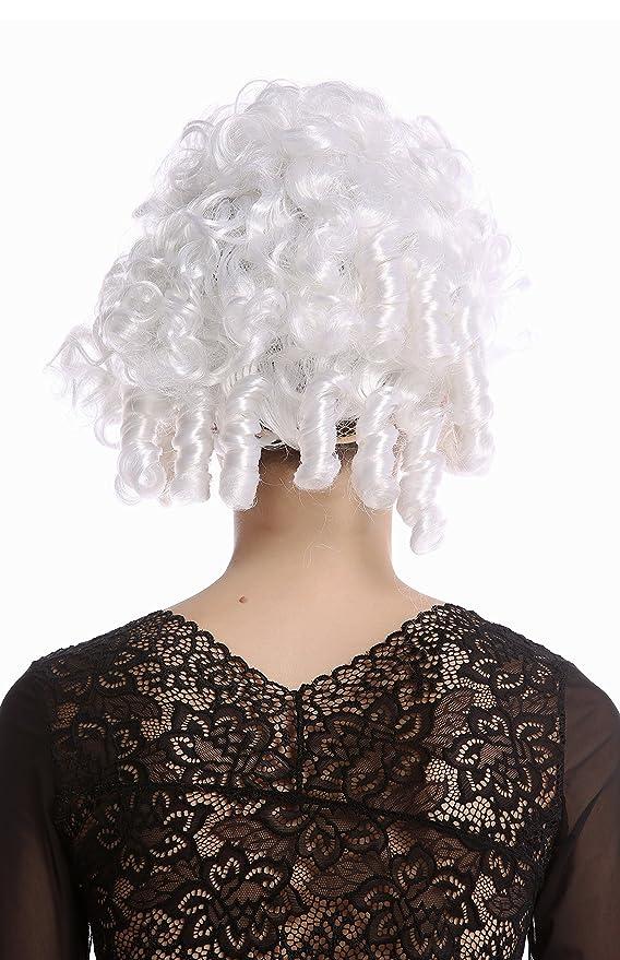 WIG ME UP ® - 90906-ZA62 Peluca Mujer Halloween Carnaval Corto Blanco tirabuzónes Noble Reina Marie Antoinette rococó Barroco: Amazon.es: Juguetes y juegos