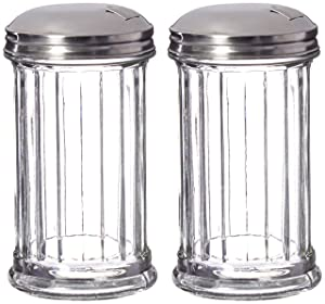 Update International Retro Style Sugar Dispenser/Pourer/Shaker, Glass Jar, Stainless Steel Pour-Flap Lid, 12 oz, Set of 2