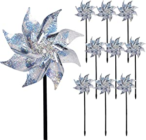 Hausse 10 Pack Reflective Pinwheels with Stakes, Extra Sparkly Pin Wheel for Garden Decor, Bird Repellent Devices Deterrent to Scare Birds Away from Yard Patio Farm