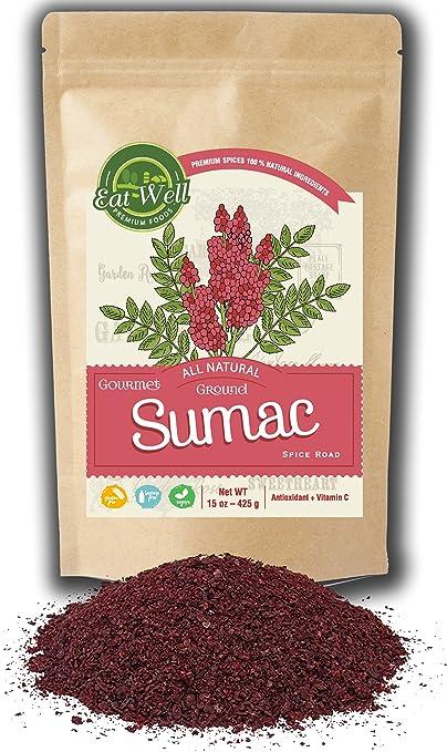 Sumac Spice Powder | 15 oz - 425 g Reseable Bag | Bulk Ground Sumac Berries - Bran |Extra Grade Turkish Sumac Seasoning | Middle Eastern Spices | by Eat Well Premium Foods