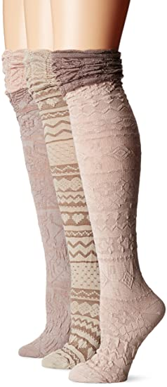 d48aa0ac3ae Muk Luks Women s 3 Pair Pack Microfiber Over the Knee Socks