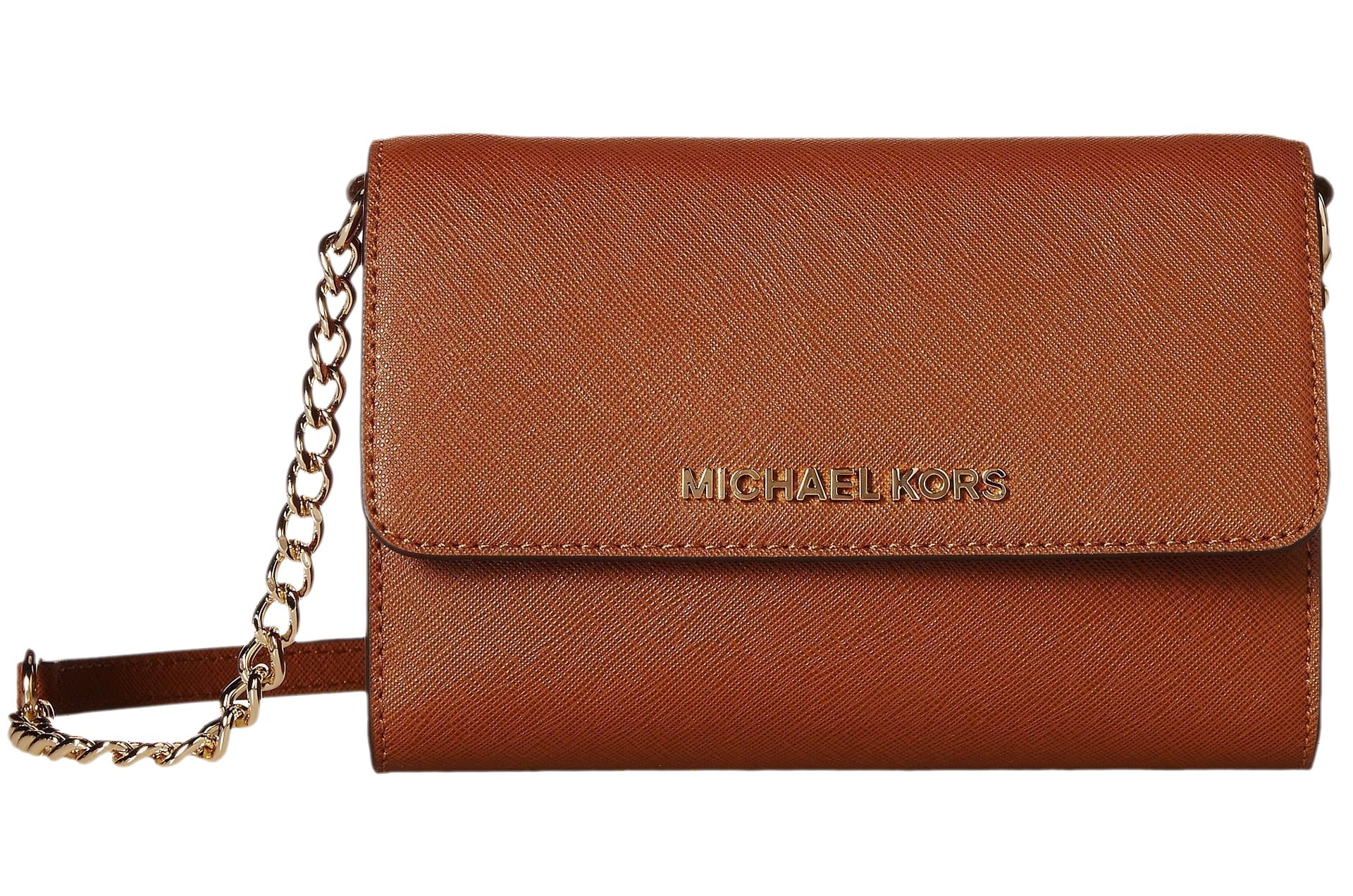 Michael Kors Womens Jet Set Travel LG Phone Crossbody Wallet Purse Luggage Brown by Michael Kors