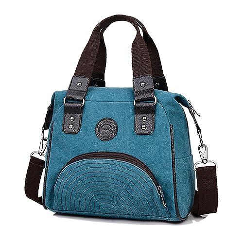 HeHe Bolso de Hombro de Tela de Lona para Mujer, Bolso de Ocio, Mutil Function Bag Crossbody Bag Tote Carteras de mano - Azul: Amazon.es: Zapatos y ...