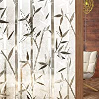Rabbitgoo Frosted Window Film Privacy Decorative Static Cling Vinyl Glass Film Bamboo Pattern, 44.5 X 200 Centimeters…