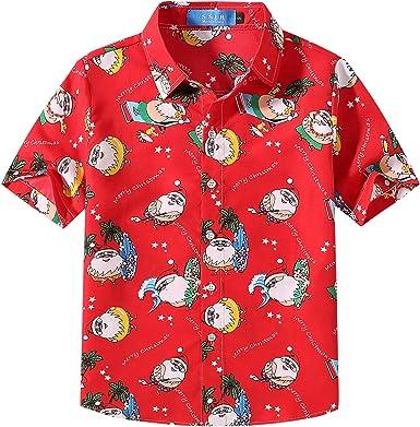 SSLR Camisa Estilo Hawaiana Estampado Navideño Papá Noel 3D Casual para Niño