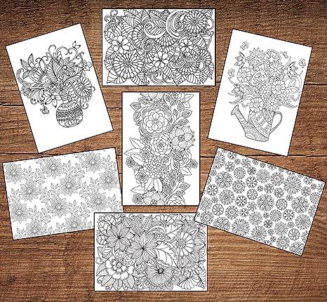 12 colorear para adultos en blanco floral de felicitación/tarjetas ...