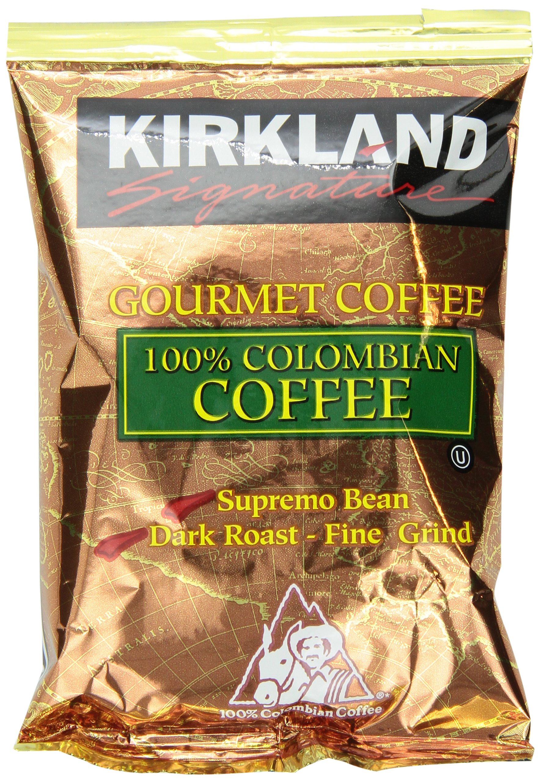 Kirkland Signature 100% Colombian Coffee, Supremo Bean Dark Roast Fine Grind, 42/1.75 ounce Pouches by Kirkland Signature