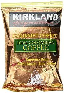 Kirkland Signature 100% Colombian Coffee, Supremo Bean Dark Roast Fine Grind, 42/1.75 ounce Pouches