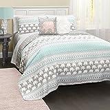 Lush Decor C43202P15-000 4 Piece Elephant Stripe Quilt Set, Full/Queen, Turquoise/Pink
