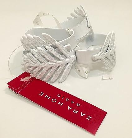 Juego de 4 Zara Home servilleteros Hojas blanco