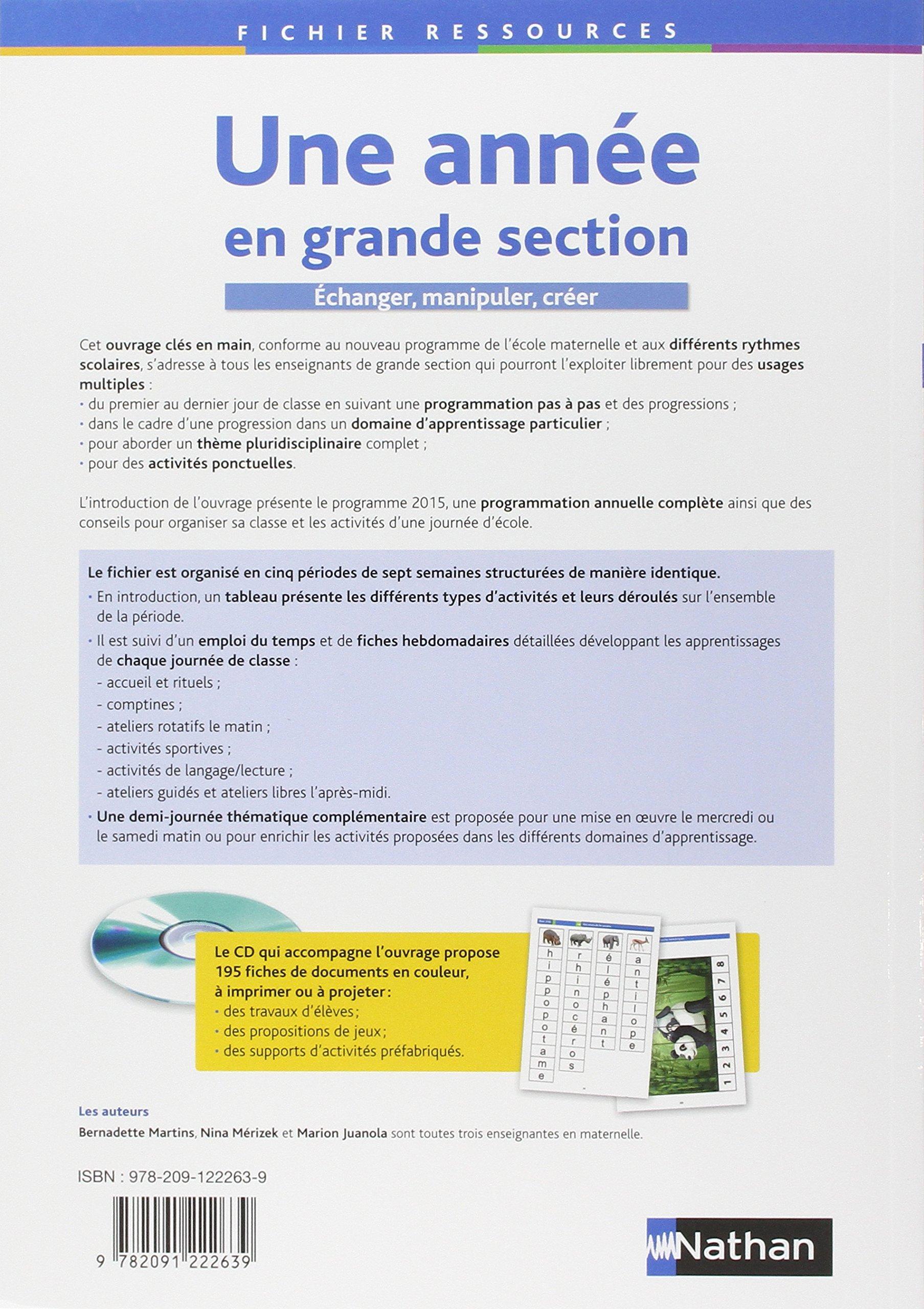 Une année en grande section: Amazon.fr: Marion Juanola, Nina Mérizek,  Bernadette Martins: Livres
