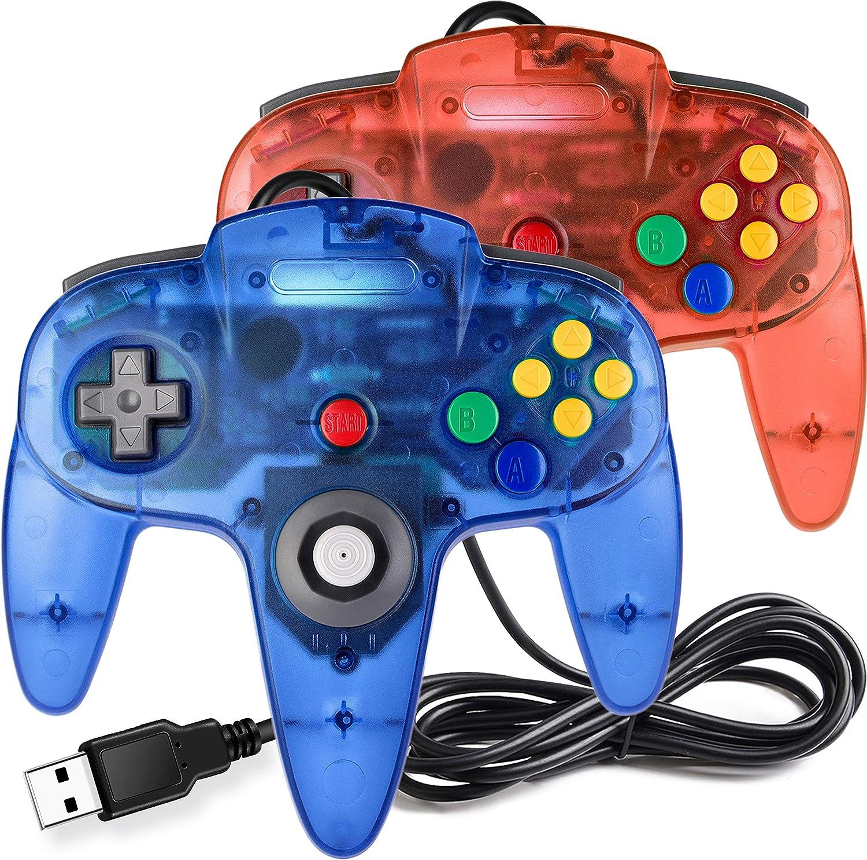 2 Pack USB N64 Controller, iNNEXT N64 Wired PC Gamepad Joystick for Windows PC MAC Linux Raspberry Pi Genesis Higan Project 64 Retropie OpenEmu Emulator