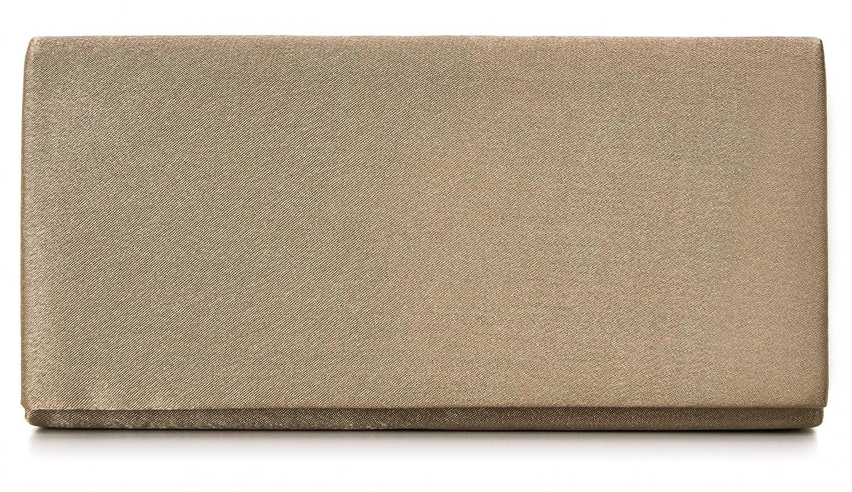 VINCENT PEREZ Clutch, Abendtaschen, Umhängetaschen, Unterarmtaschen aus Satin, mit abnehmbarer Kette (120 cm), 22x11x3,5 cm (B x H x T) Umhängetaschen Farbe:Beige