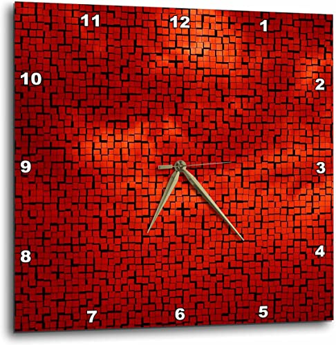 3dRose LLC Red Clouds Tile Pattern 10 by 10-Inch Wall Clock