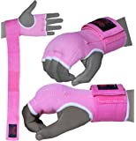 BOOM Prime Pink Boxing Inner Gel Gloves Hand Wraps Fist Padded Bandages MMA Punch Bag (Free Uk Shipping)
