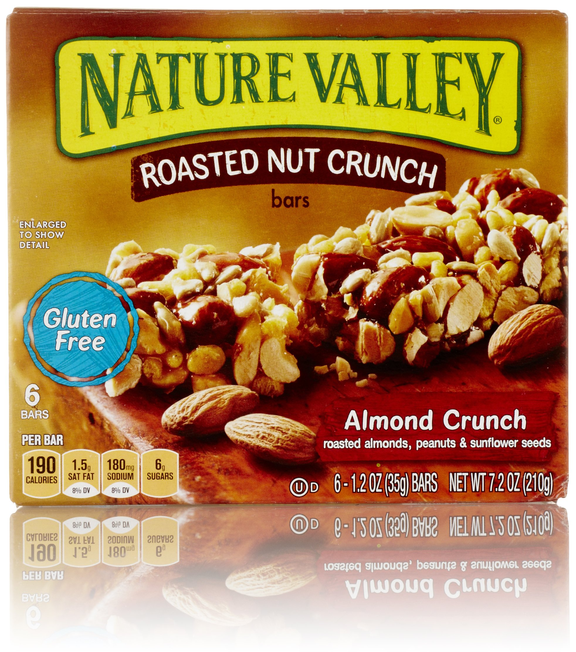 Nature Valley, Gluten Free Roasted Nut Crunch Bar, Almond Crunch, 1.24 oz Bars, 6 Count