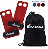 KAYANA Leather Gymnastics Hand Grips - Palm Protection and Wrist Support for Cross Training, Kettlebells, Pull ups, Weightlifting, Chin ups, Workout, Exercise