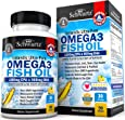 Omega 3 Fish Oil Supplement – Immune & Heart Support Benefits– Promotes Joint, Eyes, Brain & Skin Health - Non GMO, Pharmaceutical Grade - Lemon Flavor EPA 1200mg, DHA 900mg Fatty Acids Gluten Free