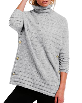 84724d703c0cc6 TopsandDresses Ladies Grey Striped Polo Neck Jumper in UK Plus Sizes  16-26/eu 42-52: Amazon.co.uk: Clothing