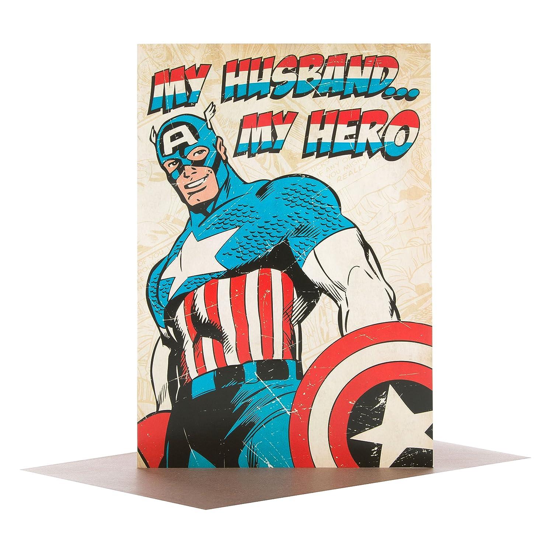 Hallmark - Tarjeta 25474022 Capitán América marido Tarjeta de San ...
