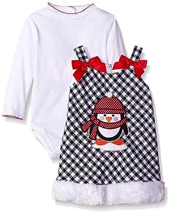 87cf994c651f Amazon.com  Youngland Baby Girls  2 Piece Dress Plaid Penguin ...