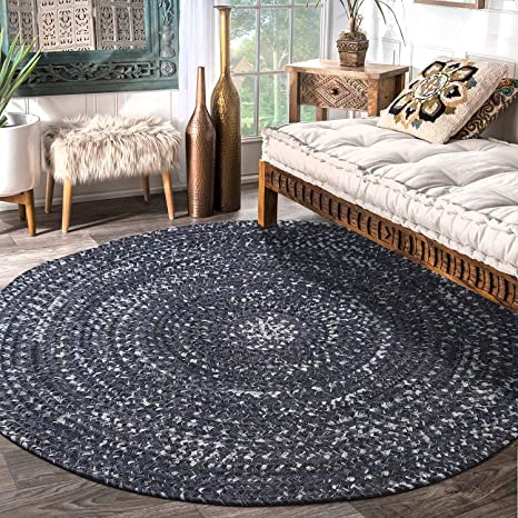 Yj Gwl Reversible Braided Rug Round Hand Woven Area Rugs Denim Carpet For Bedroom Living Room High Traffic Areas 3 3 Blue
