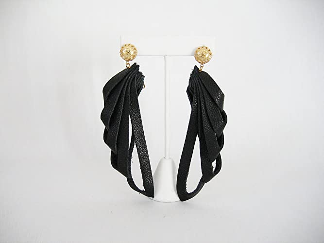 Black Leather Clip on Earrings