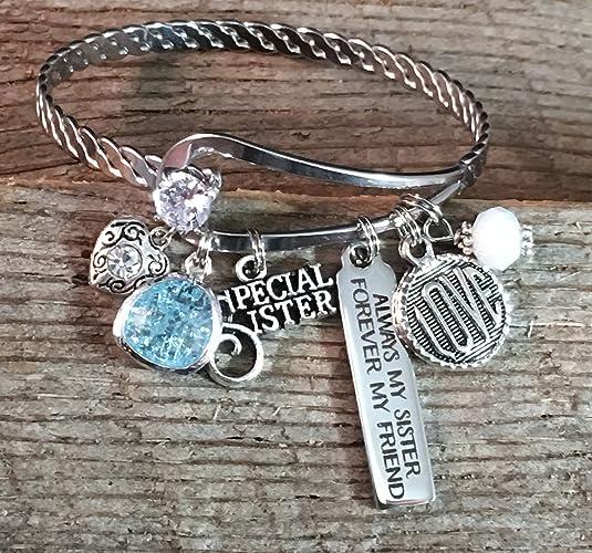 Bar Charm Bracelet BANGLE Sister Gift SISTER Jewelry