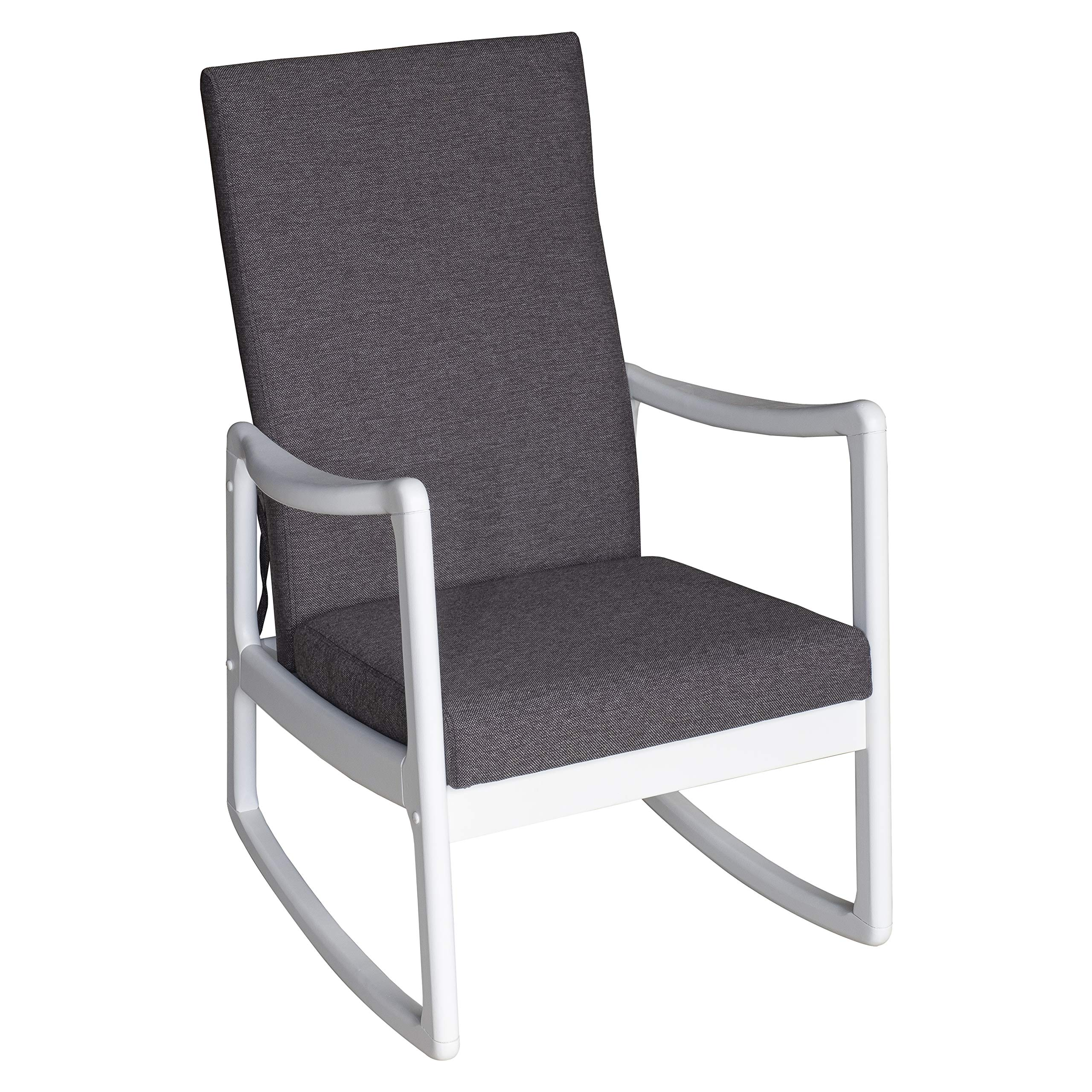HOMCOM Modern Wood Rocking Chair Indoor Porch Furniture for Living Room - White/Gray with Cushion