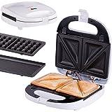 Croque gaufre 3 en 1 | gaufrier | grill de table | système de clip | thermostat | témoin de cuisson | appareil à croque-monsieur | 700 Watt | grill de contact |