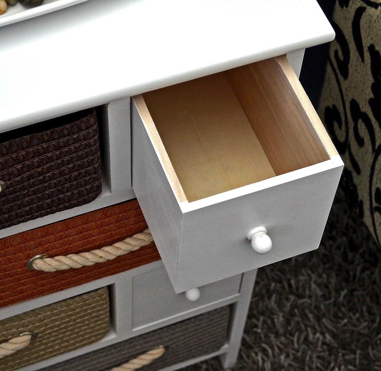 cmoda en estilo antiguo cm armario para dormitorio de nios estantera para bao en blanco contiene cuatro cestas y cuatro cajones amazones hogar