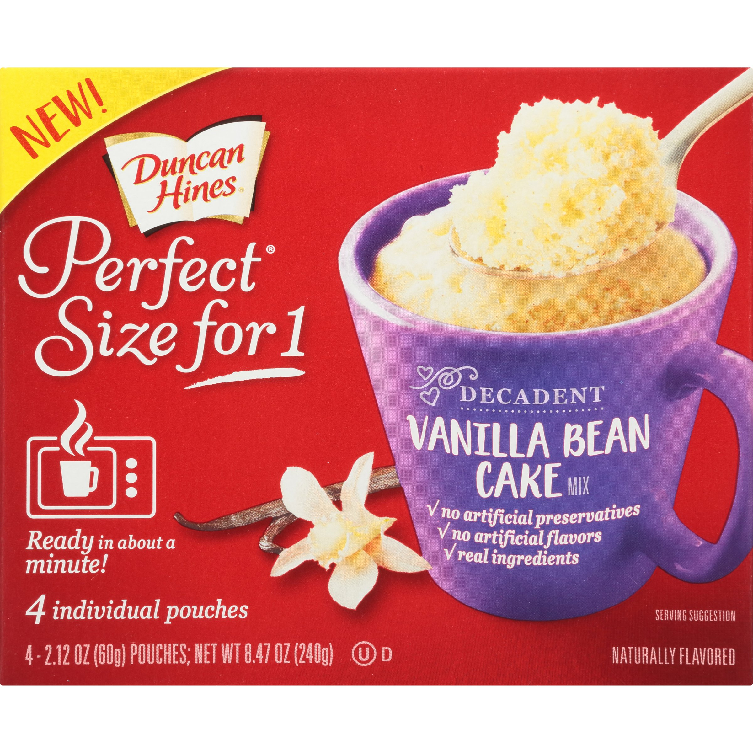 Duncan Hines Perfect Size for 1 Mug Cake Mix, Ready in About a Minute, Vanilla Bean Cake, 4 individual pouches