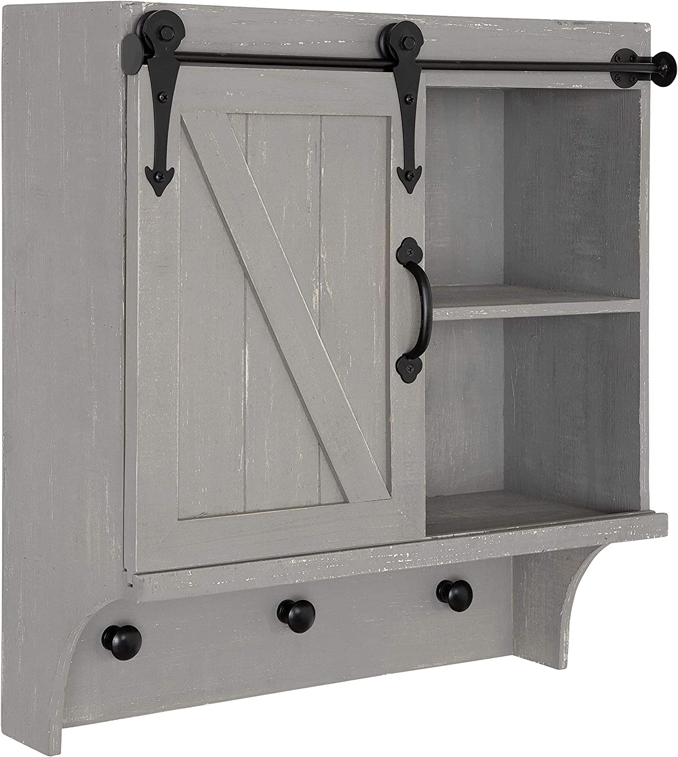 Kate and Laurel Cates Decorative Farmhouse Cabinet Wall Organizer with Sliding Barn Door and 3 Knobs, 18 x 8 x 20, Gray, Shabby-Chic Farmhouse-Inspired Mail and Key Holder for Wall