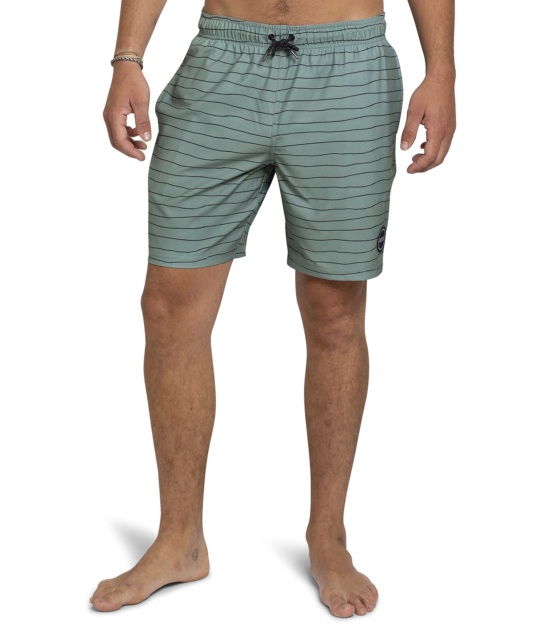 Kove Nomad Swim Trunks Recylced Men's Quick Dry 4 Way Stretch 18'' Swimsuit Large Sage Green