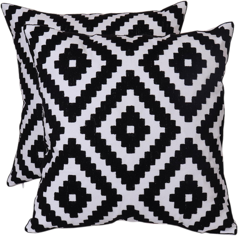 Amazon Com Bridgeso Geometric Throw Pillow Case Black Diamond