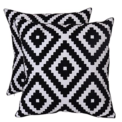 Bridgeso Geometric Throw Pillow Case Black Diamond Pattern Embroidered  Cushion Cover for Couch Sofa, 18\