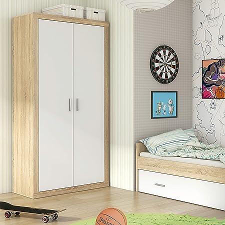HomeSouth - Armario Dos Puertas Dormitorio habitación, Acabado en Color Blanco y Cambria, Modelo Lara, Medidas: 105 cm (Largo) x 208 cm (Alto) x 50 cm (Fondo)