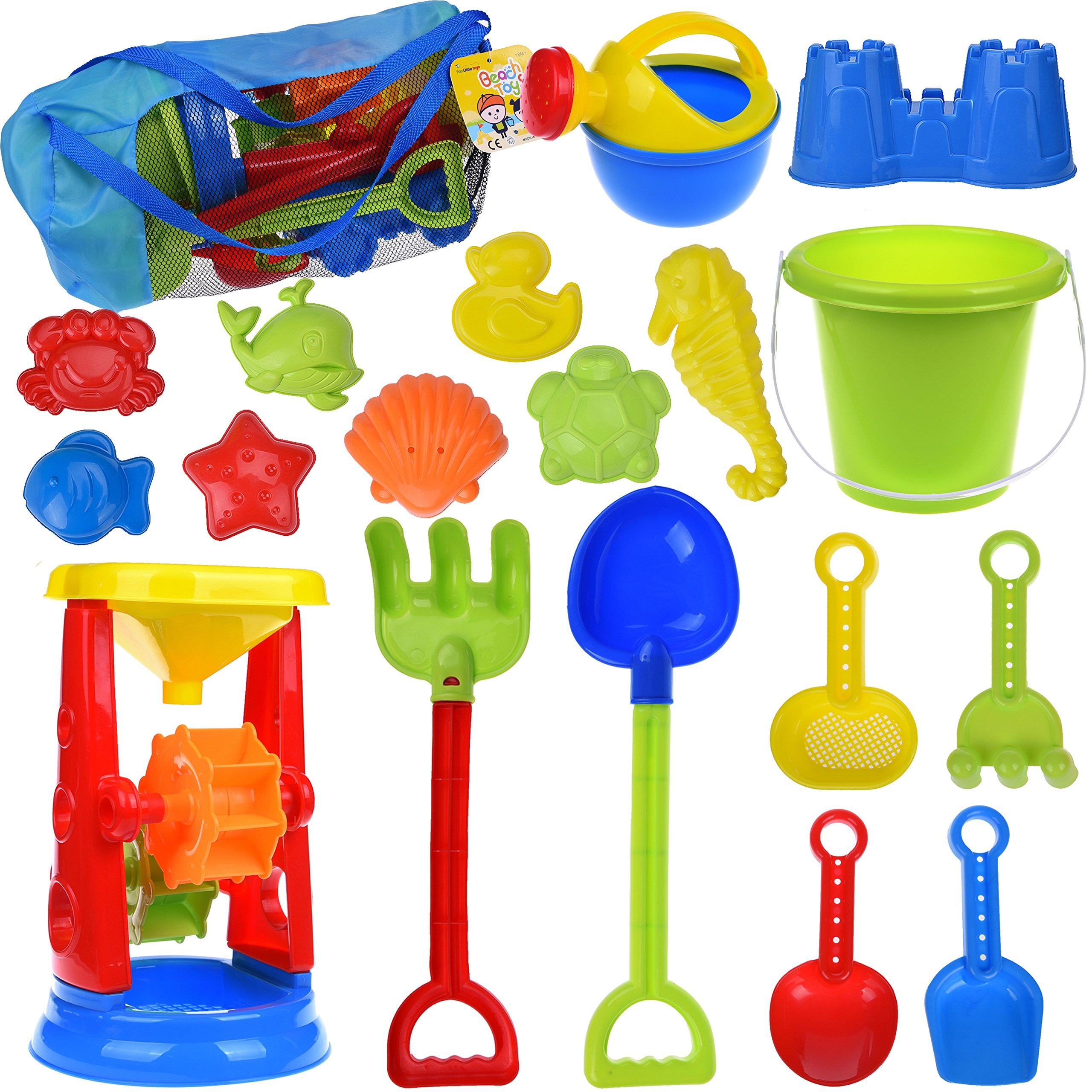 19 PCs Kids Beach Sand Toys Set Sand Water Wheel, Beach Molds, Beach Bucket Beach Shovel Tool Kit, Sandbox Toys for Toddlers, Kids Outdoor Toys by FUN LITTLE TOYS
