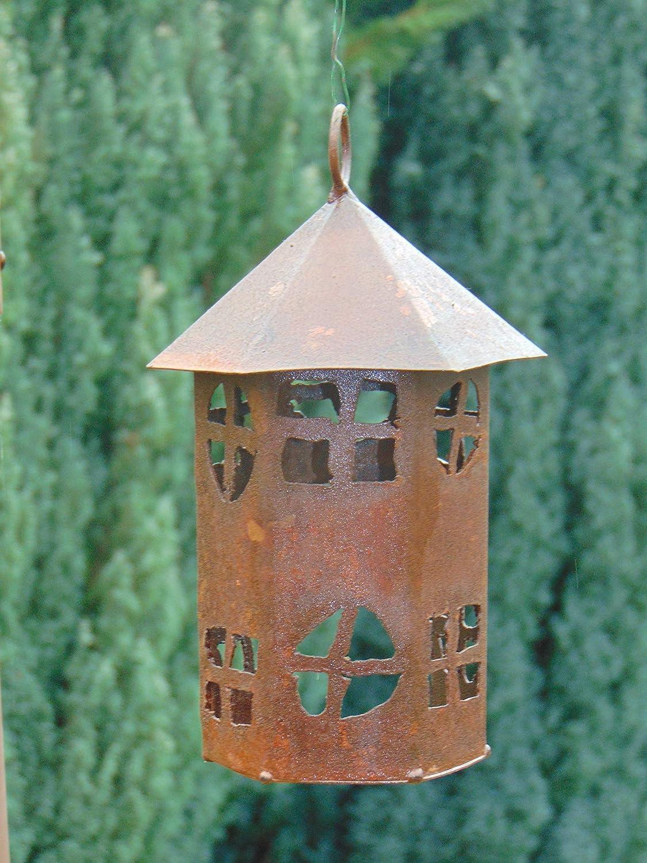 Edelrost Windlicht Turm 6-eckig Haus Spitzdach zum Aufh/ängen H/öhe ca 22,5 cm